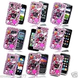 Hot Pink White For Samsung Apollo I5800I5801 Hard Barbie Diamond Gemstone Flower Case Cover+2 X Screen Film - PART OF JJONLINESTORE ACCESSORIES