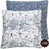 Atlas We're Here Collection - Decorative Pillow Cover - Navy Blue and Candy White Hues - Airplane, V