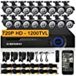 DEFEWAY 16 720P HD 1200TVL Surveillance Camera System with 16 Channel 720P AHD CCTV DVR and Outdoor Security Cameras No Hard Drive - Quick Remote Access Setup Free App - 100ft(30m) Night Vision