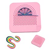 Roll Quiller's Grid Guide Quilling Board with Pins Storage for Paper Crafting Winder Roll Square Craft DIY Tool and 260 Stips Quilling Papers (Color: Pink, Tamaño: 105mm*105mm*8mm)