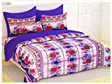 Bedspun Supreme Comfort 120 TC 100% Cotton Red & Purple Big Flower Bedsheets, Double Bedsheets With 2 Pillow Cover - Purple