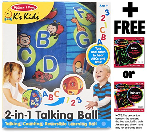 K's Kids 2-in-1 Talking Ball Learning Toy + FREE Melissa & Doug Scratch Art Mini-Pad Bundle [91817] - 1