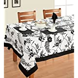 Swayam Libra Printed Cotton 6 Seater Table Sheet - Black And Whine (RDS16-60X90-5313)