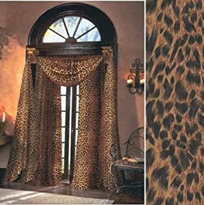 Leopard skin animal print sheer curtain for Animal print window treatments