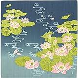 濱文様 風呂敷 小布 古代蓮と流水紋 エメグリーン