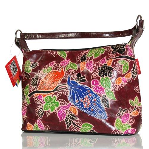 HYDESTYLE Pictis Leather Ladies Hobo Bag embossed and hand painted - Maroon Peacock LWS-HB006