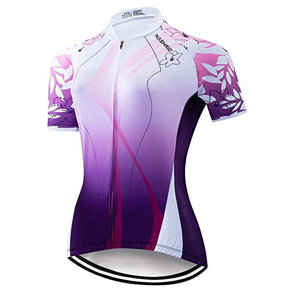 Cycling Jersey Womens Short Sleeve Bike Biking Shirts Full Zip Bicycle Tops Cycling Clothes with 3 Pockets
