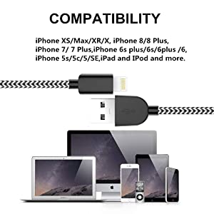 SHARLLEN MFi Certified iPhone Lightning Cable 3Pack 3/6/10FT Nylon Braided USB Fast Charging & Syncing Cord Cell-Phone Charger Cable Compatible iPhone Xs/Max/XR/X/8 P/8/7/7P/6/5 iPad/iPod Black&White (Color: WhiteBlack, Tamaño: 10 Feet)