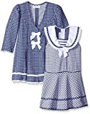 Bonnie Jean Toddler Girls Check Jacquard Sailor Dress and Coat Set, Navy, 3T