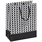 10 pcs Large Houndstooth Glossy Shopping Paper Gift Sales Tote Bags with Blank Message Tag 8 x 5 x 10