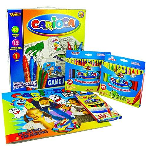 carioca-41546-game-station-valigetta-composta-da-48-pennarelli-super-lavabili-con-12-matite-colorate