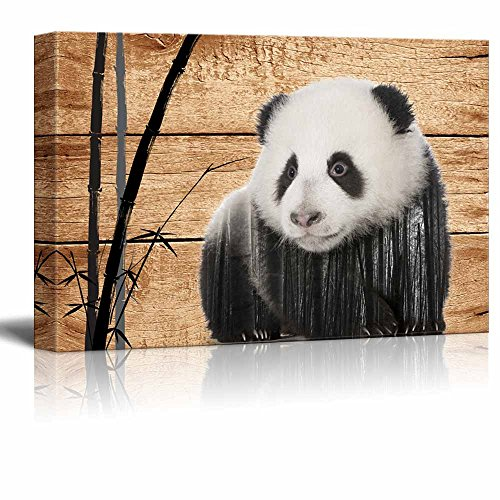 wall26-Double-Exposure-Rustic-Canvas-Wall-Art-Giant-Panda-in-the-Wild-on-Vintage-Wood-Background-Giclee-Print-Modern-Wall-Decor-Stretched-Gallery-Wrap-Ready-to-Hang-32x48-inches
