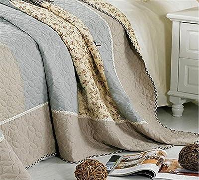 3 Piece Bow-Knot Floral Patchwork Bedspeads Quilt Comforter Sets Queen Cotton Light blue