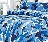 Clara Clark Colored Camouflage Goose Down Alternative Double Fill All Season Comforter, Full/Queen, Ocean Blue