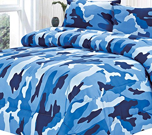 Clara Clark Colored Camouflage Goose Down Alternative Double Fill All Season Comforter, King, Ocean Blue front-1033990