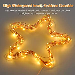 ECOWHO Battery Operated String Lights, 66ft 200 LED Waterproof Starry Indoor Fairy Lights with Remote, 8 Lighting Modes, Decorative Lights for Patio, Garden, Wedding, Room (4 Pack Warm White) (Color: 4 Pack Warm White)