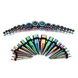 vcmart 14G-00G Rainbow Ear Gauges Stretching Kit 36 Pieces Tapers Plugs Eyelets Implant Grade Steel