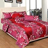 Soni Traders Floral Print Polycotton Double Bedsheet With 2 Pillow Covers (BST_098, Pink)