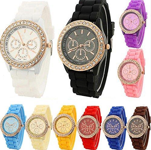 Yunan Wholesales 10-pack Unisex Jelly Silicone Wrist Watch For Geneva Women's Girl's Boy Men Childen (Silicone Jelly Watch For Men compare prices)