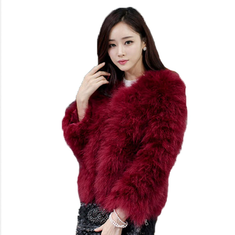 YR Lover Damen Winter Warm Echter Strauß Pelz Mantel Jacket günstig