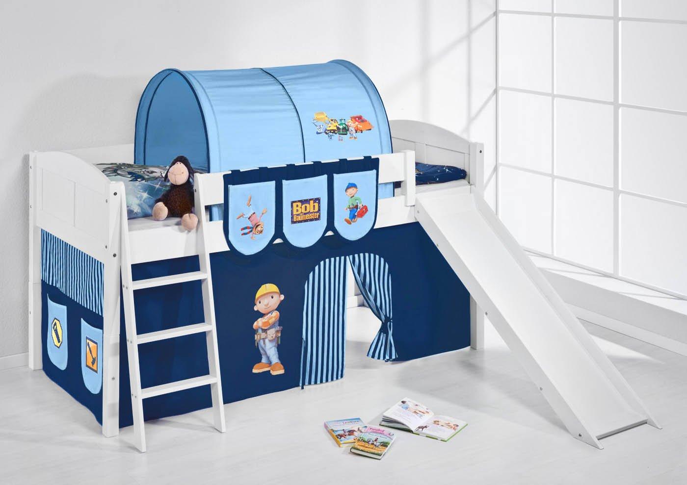 Spielbett IDA 4106 Bob der Baumeister Lilokids Teilbares Systemhochbett LILOKIDS Weiß mit Rutsche und Vorhang Blau kiefer günstig kaufen