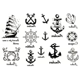 YARUIE 3 Sheets Removable Waterproof Temporary Tattoo Body Art Stickers Black Sailing
