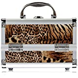 Just Case Cosmetic Makeup Train Case With Mirror And Easy Clean Extendable Trays, Leopard