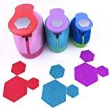 TECH-P Set of 3PCS (2 inch+1.5 inch+1inch) Craft Punch Set Paper Punch Paper Punch Tool Eva Punches for Making Arts Crafts Projects Cards Scrapbooking Garland Hanging Decorations (Hexagon) (Color: Hexagon)