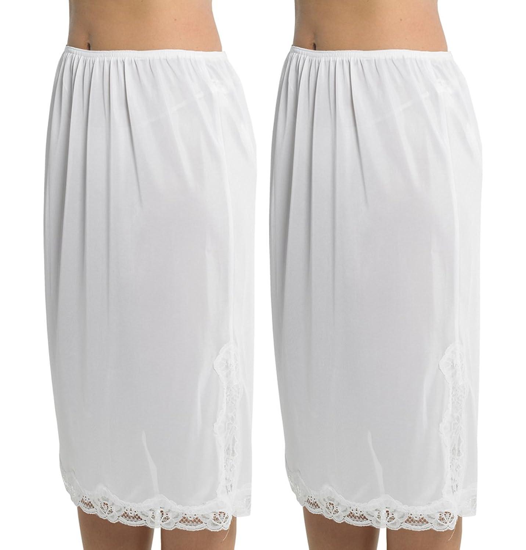 2 Pack Womens Damen Unterrock Slip mit Lace Trim 100 % Polyester resistentes Cling, 27 Zoll Länge (68cms), verschiedene Farben & Größen günstig bestellen
