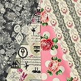8976-2 薔薇の生地福袋 おまけ付き 4枚入り 50×50cm 有輪 キルトゲイト はぎれ 花柄