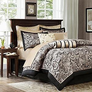 luxury black gold paisley bedding comforter set of 12 100 cotton