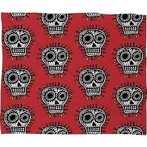 Amazon.com: DENY Designs Andi Bird Sugar Skull Fun Red Fleece Throw