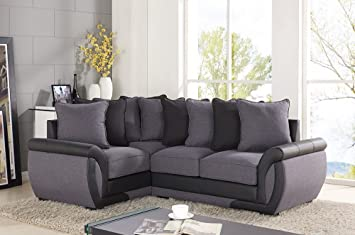 Ecksofa Suiten Sofa Grau Anthrazit Stoff 32-Sitzer Sessel Leder
