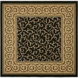 "Safavieh Courtyard Collection CY6014-46 Black and Natural Square Area Rug, 6 feet 7 inches by 6 feet 7 inches Square (6'7"" x 6'7"" Square)"