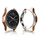 Case for Galaxy Watch 42mm, Minisoo Soft TPU Plated [Scratch-Resist] Frame Shock-Proof All-Around Protective Bumper Shell for Samsung Galaxy Watch 42mm Smartwatch (Champagne) (Color: Champagne)