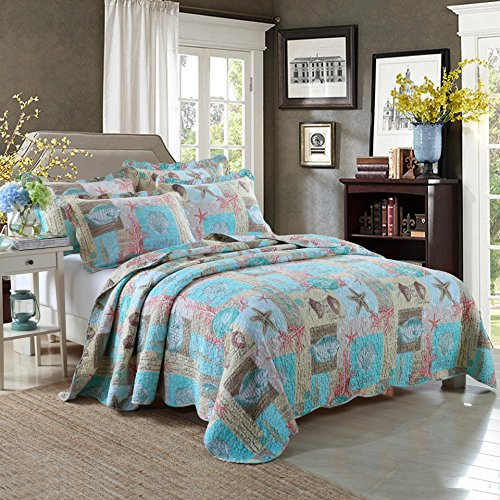 Newrara Seashell Beach Bedding Queen Beach Theme Quilt Set Beach Bedspread/Patchwork quilt (Beach Quilts Queen Size compare prices)