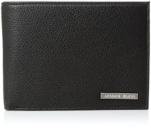 Armani-Jeans-Mens-Large-Pu-Bi-Fold-Wallet-with-Logo-Plate