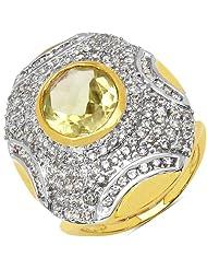 6.90 Grams Lemon Topaz & White Cubic Zirconia Gold Plated Brass Ring