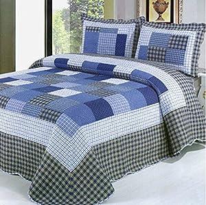 rara 3 Piece 100% Cotton Queen Size Patchwork Quilt Bedspread Blue Checkered Country Cottage Quilt Set