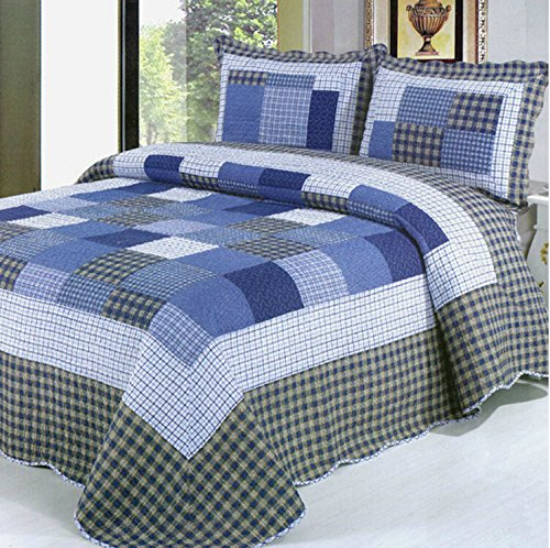 rara 3 Piece 100% Cotton Queen Size Patchwork Quilt Bedspread Blue Checkered Country Cottage Quilt Set