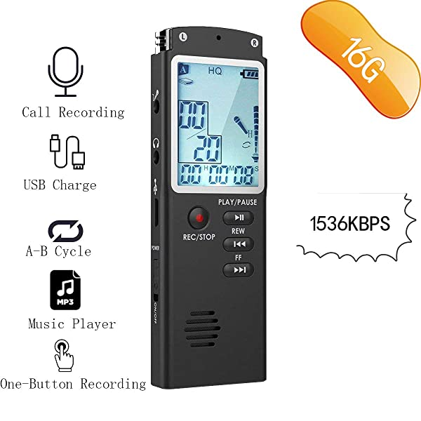 RISWOJOR 16G Voice Activated Recorder Device,Mini Recorder Portable Dictaphone 1536Kbps, Landline Call Recorder,Digital Audio Recorder for Meeting,Lectures,USB Charge (Tamaño: 16G)