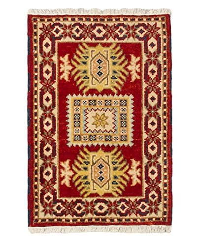 Hand-Knotted Royal Kazak Wool Rug, Red, 2' 1 x 3'