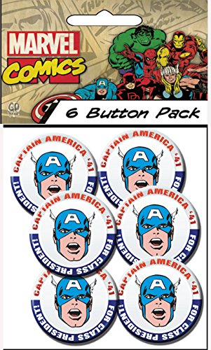"C&D Visionary Marvel Comics (Retro) Captain America President 1.5"" Button (6-Piece)"