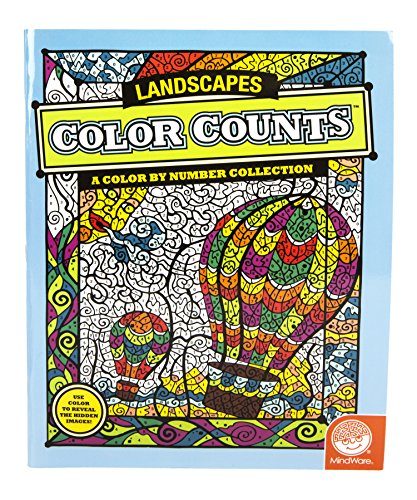 "MindWare - Color Counts Landscapes - 11 Unique Puzzles With Up To 10 Color Directions - Teaches Creativity and Fosters Imagination - Includes 10"" x 15"" Fold-Out Designs - 1"