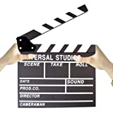 BERON Professional Vintage TV Movie Film Clap Board Slate Cut Prop Director Clapper (Black) (Color: Black)