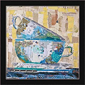 For Tea on Neutral by Elizabeth St. Hilaire Nelson Newsprint Collage Framed Print Picture Wall Décor