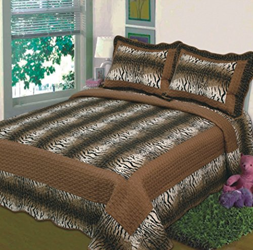Fancy Collection 3Pc Bedspread Bed Cover Tiger Skin Brown (Queen) front-524848