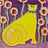 Continental Art Center SD-108 4 by 4-Inch Yellow Cartoon Cat Ceramic Art Tile