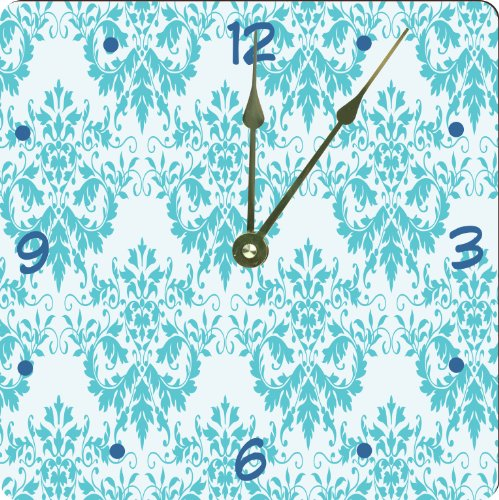 "Rikki Knighttm Shabby Chic Blue Damask Design 6"" Art Desk Clock front-604650"