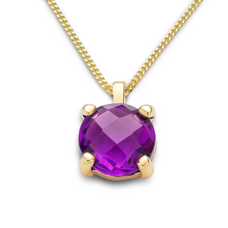 Miore Damen-Anhänger Damen-Halskette 9 Karat ( 375 ) Gelbgold Amethyst Quartz 1.5 ct. Quarz lila Rundschliff - MNA9054N